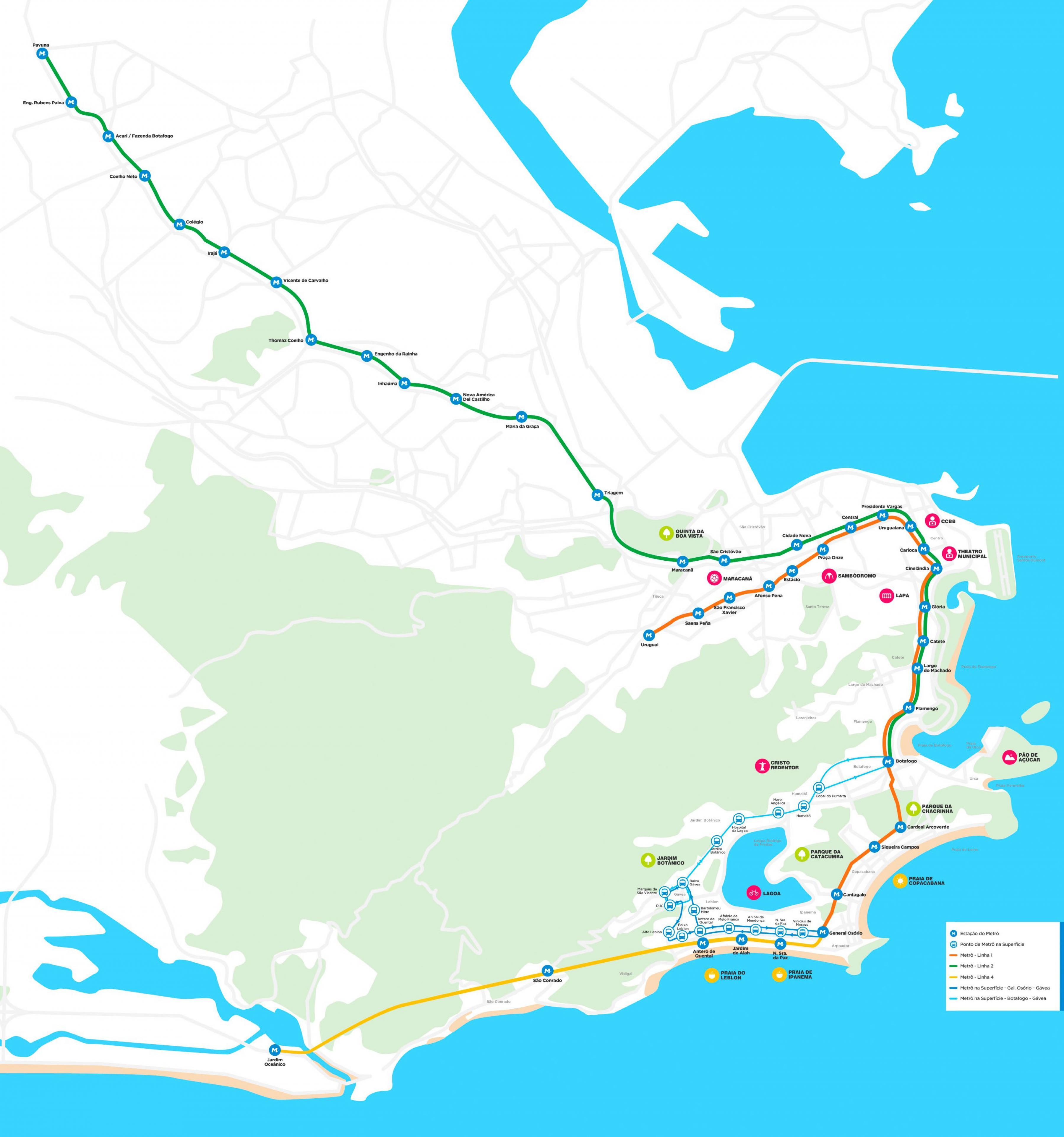 Rio De Janeiro Karte.Metro Rio De Janeiro Karte Karte Der Metro Rio De Janeiro