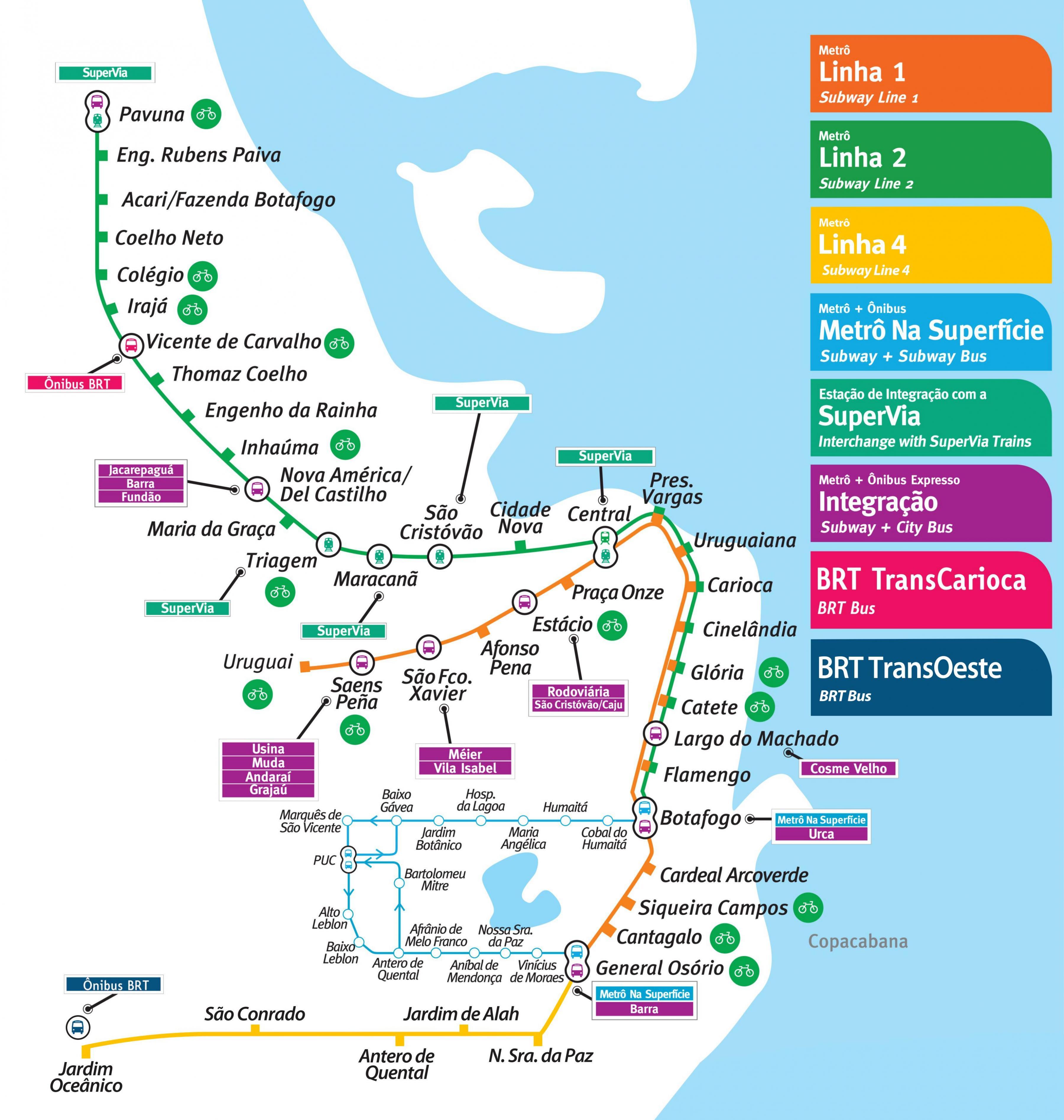 Rio De Janeiro Karte.Rio De Janeiro U Bahn Karte Karte Von Rio De Janeiro U