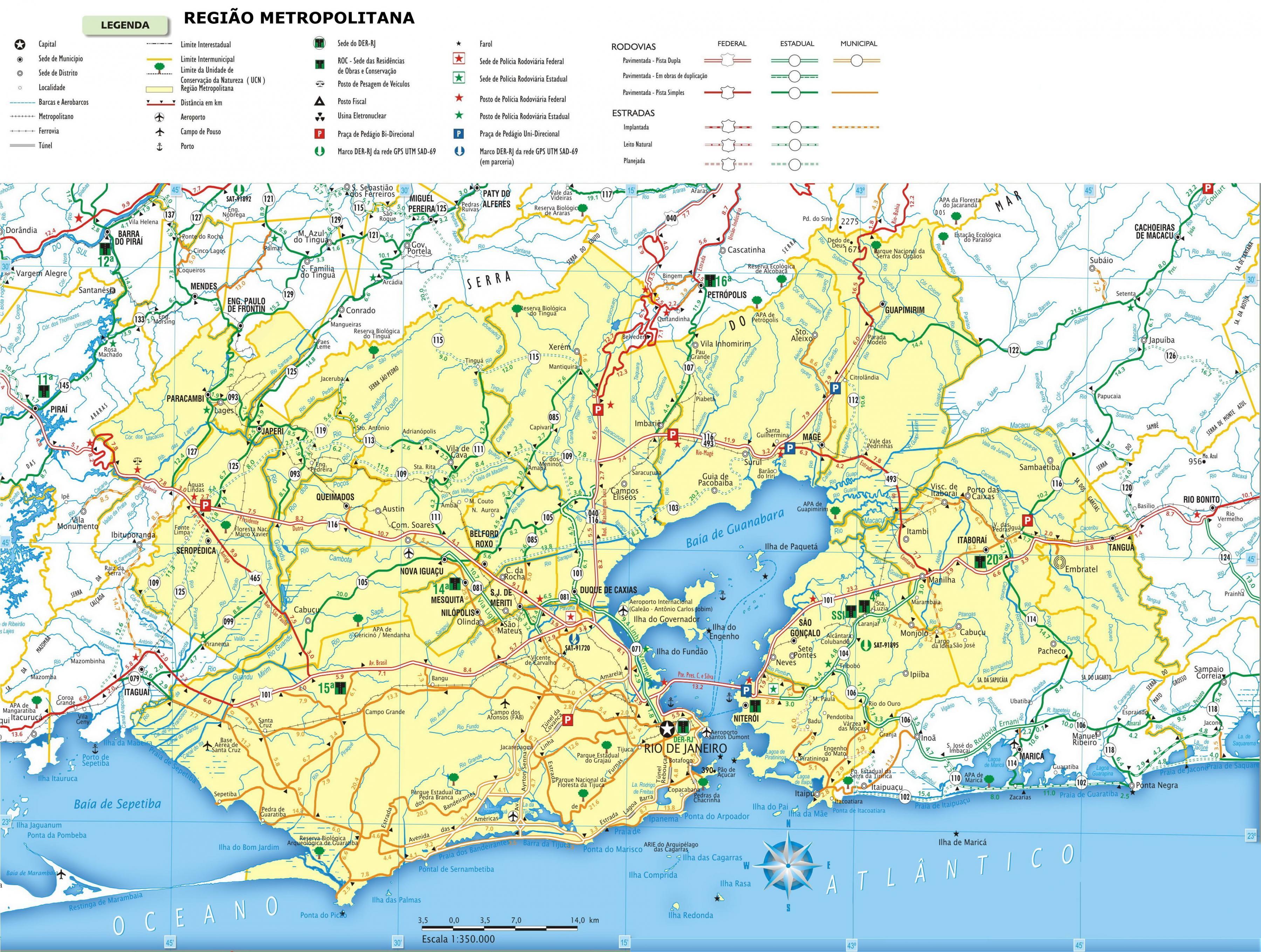 Straßen Rio de Janeiro-map - Karte von Straßen Rio de ...