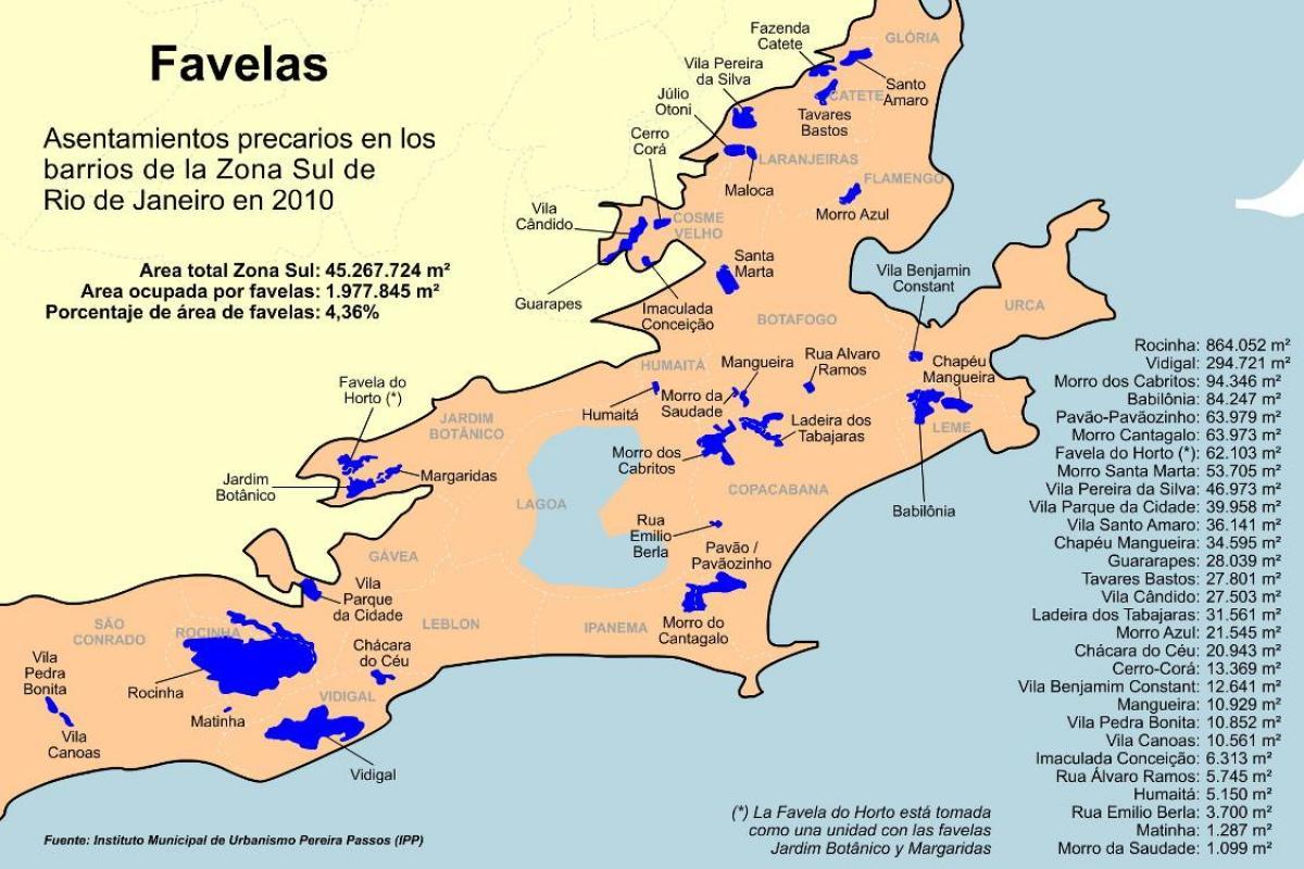 Rio De Janeiro Karte.Favelas Sud Zone Von Rio De Janeiro Map Karte Von Favelas